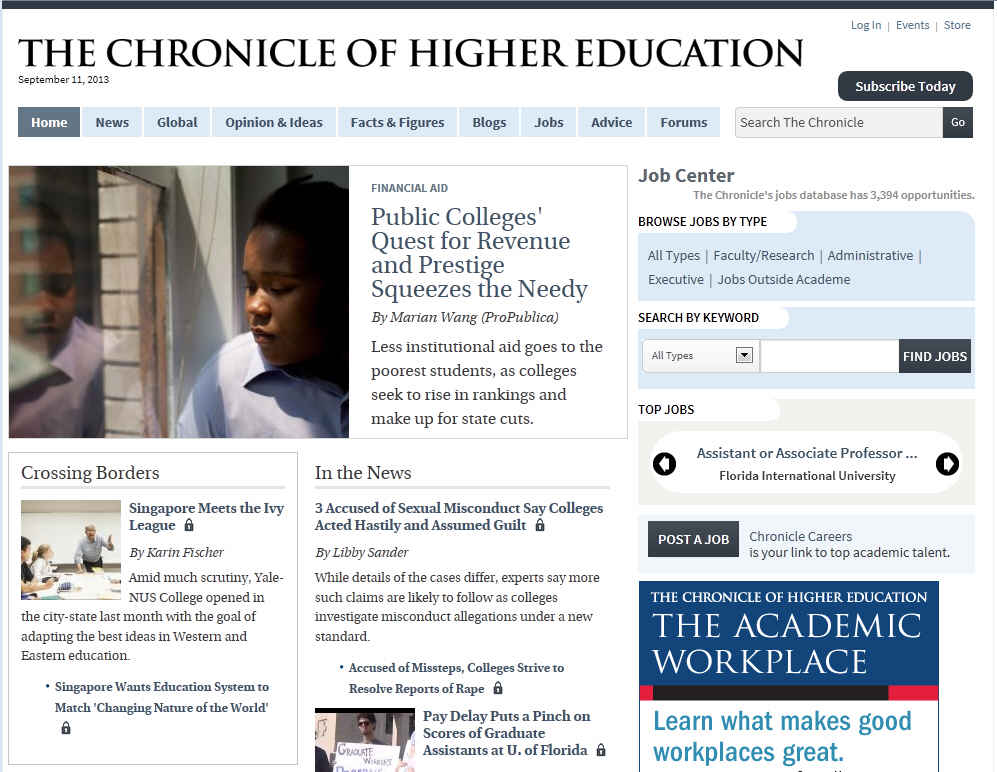 the chronicle of higher education essay